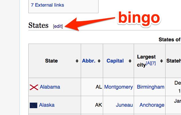 Wikipedia table edit button